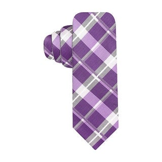 Alfani Red Label Grid and Solid Reversible Skinny Tie Purple and Grey Necktie