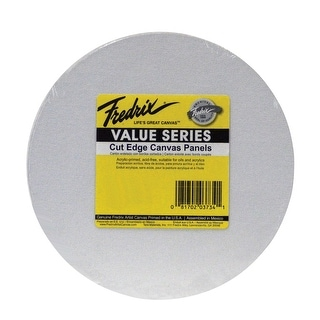 Fredrix Value Series Cut Edge Canvas Panel, 12 in Round, White, Pack of 25