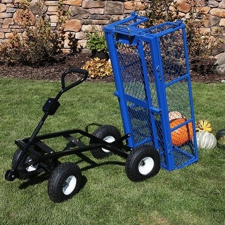 Sunnydaze Steel Dump Utility Garden Cart - 660 Pound Weight Capacity - Blue
