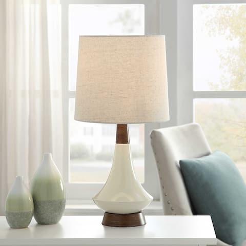 StyleCraft White Washed Wood/ Cream Ceramic Table Lamp - Heathered Oatmeal Hardback Fabric Shade