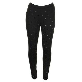 Michael Michael Kors Black Embellished Ponte-Knit Leggings S