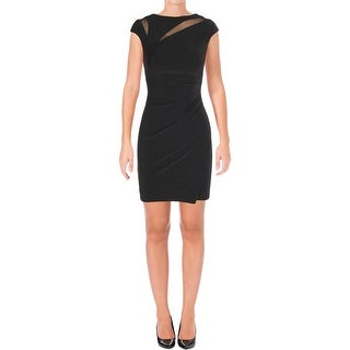 Lauren Ralph Lauren Womens Petites Cocktail Dress Mesh Inset Cap Sleeves