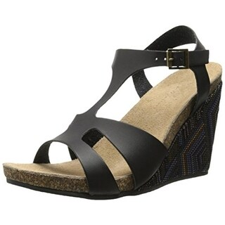 Coconuts by Matisse Womens Metro Faux Leather T-Strap Wedge Sandals