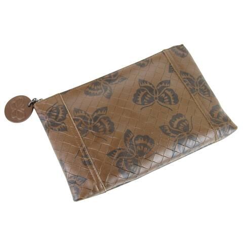 Bottega Veneta Women's Brown Intrecciomirage Leather Pouch Bag Butterfly Clutch 301498 8402 - One size