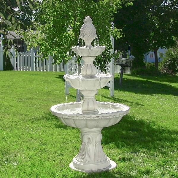 Sunnydaze Welcome 3-Tier Outdoor Garden Water Fountain - Electric - 59-Inch
