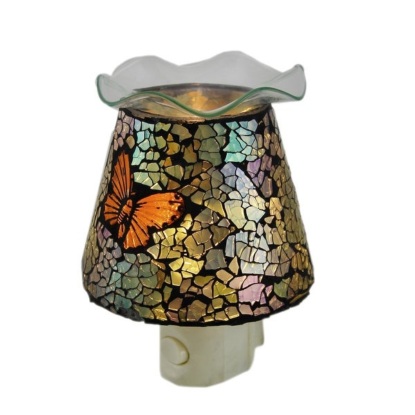 Mosaic Crackled Glass Butterfly Plug In Night Light Oil Warmer - Multicolored
