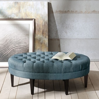 Link to Madison Park Chase Blue Surfboard Tufted Ottoman Similar Items in Living Room Chairs
