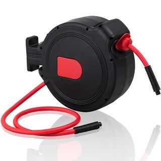 Costway 3/8'' X 50' Retractable Air Hose Reel 1/4'' Inlet 300PSI Auto Rewind Garage Tool - red &black