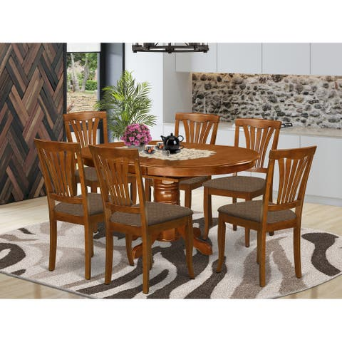 7-piece Dining Set - Oval Table with Leaf and 6 Dining Chairs in Saddle Brown Finish
