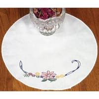 """Ribbon & Flowers - Stamped Doily 12"""" Round"""