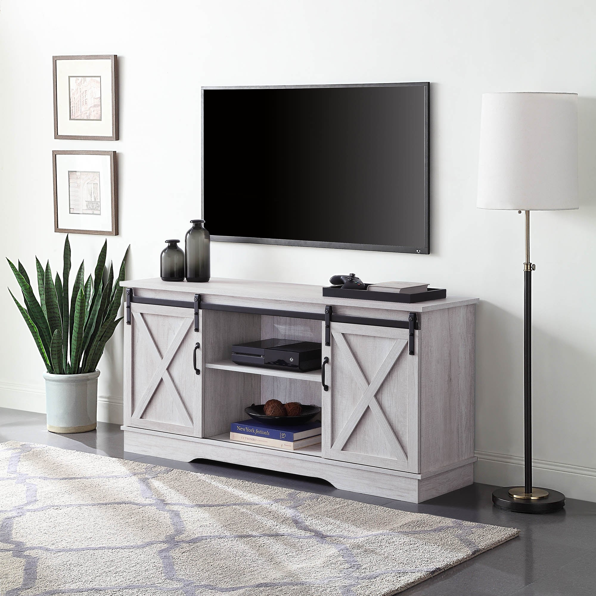 Belleze 58 Sliding Barn Door Tv Stand For Tvs Up To 65 Sargent Oak Standard On Sale Overstock 29547857