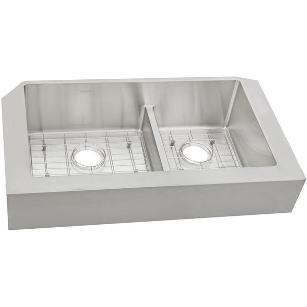 "Elkay ECTRAF3220RBG Crosstown 31-1/2"" x 20-1/4"" x 9"" Stainless Steel Double Bowl Apron Front Sink w/Aqua Divide - polished satin"
