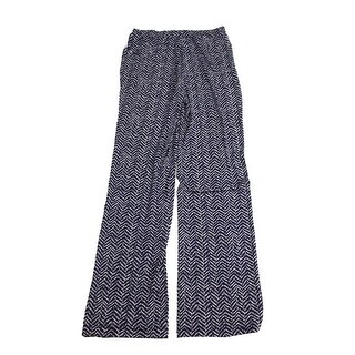 Charter Club Blue Printed Wide-Leg Soft Pants XS