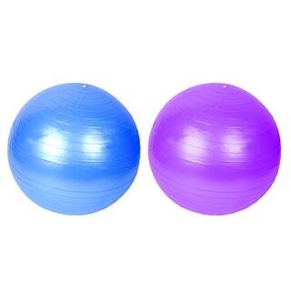 Gym Inflatable Balance Fitness Swiss Yoga Ball Blue Purple 55cm Dia w Pump 2pcs