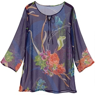 Women's Tunic Top - Floral Print Navy Blue 3/4 Sleeve Shirt