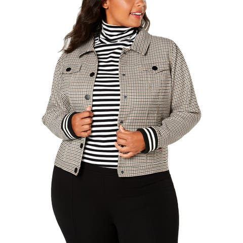 Tommy Hilfiger Womens Plus Bomber Jacket Fall Check Print