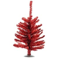"12"" Sparkling Red Retro Tinsel Artificial Christmas Tree - Unlit"