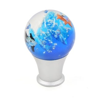 Silver Tone Metal Glass Seaworld Pattern Gear Stick Lever Shift Knob for Car