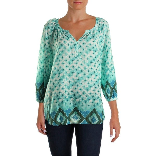 Beach Lunch Lounge Womens Raquel Pullover Top Printed 1/4 Placket
