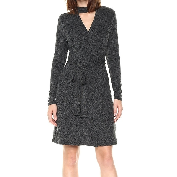 Laundry by Shelli Segal Gray Women's 6 Surplice Rib Wrap Dress