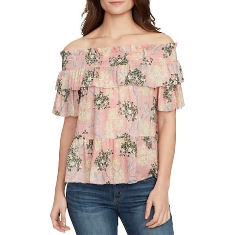 William Rast Womens Arabella Blouse Floral Print Off-The-Shoulder
