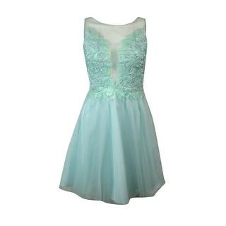 Basix Women's Embellished Scoop-Back Mesh A-Line Dress