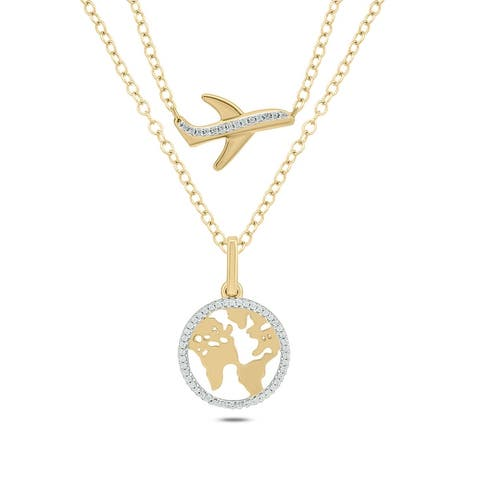 Cali Trove Sterling Silver Yellow Gold Plated Round White Diamond World Map Aeroplane Pendant Necklace for Women