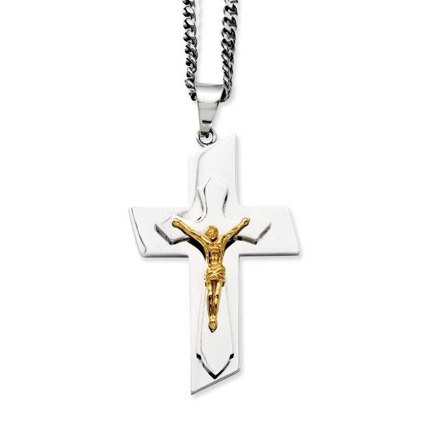 Stainless Steel Polished & IP Gold-plated Crucifix Pendant 24in Necklace (4 mm) - 24 in