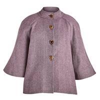 April Cornell Women's Plum Herringbone Cape Jacket- 100% Wool, Lined, 1/2 Sleeve