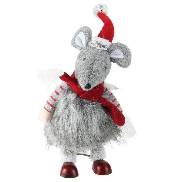 "12"" Fuzzy Gray Bouncy Bobble Action Mouse Christmas Figure Decoration"