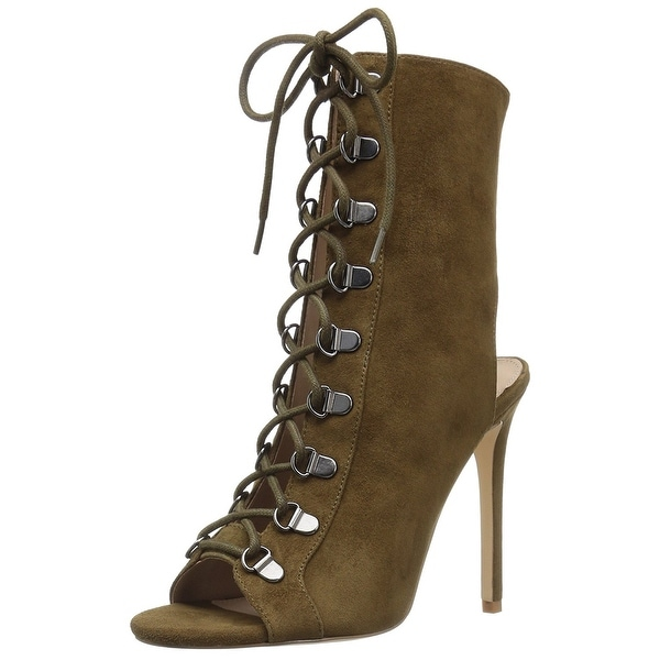 Steve Madden Womens Kennee Leather Open Toe Ankle Fashion Boots