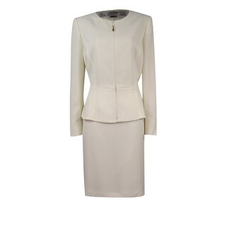Tahari Women's Crepe Zip-Up Collarless Jacket Skirt Suit