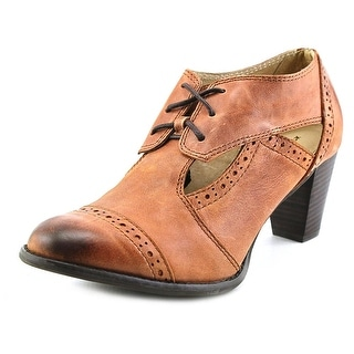 All Black Cutaway Bootie Women Round Toe Leather Brown Oxford