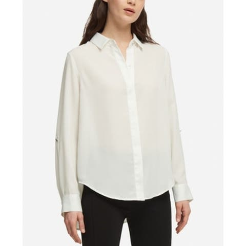 DKNY Women's Blouse Cream White Size XL Chiffon Button Down Hi-Lo