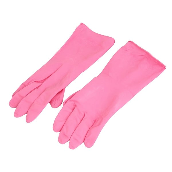 30cm x 12cm Rubber Household Kitchen Cleaning Dish Washing Gloves Fuchsia Pair