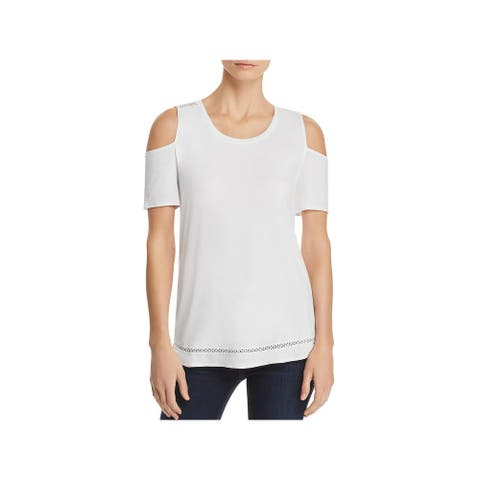 Lysse Womens Mira T-Shirt Embroidered Scoop Neck