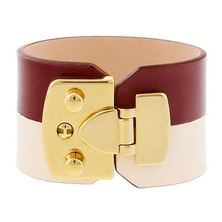 Stamerra BOSSA AVARIO Bordeaux/Cream Genuine Leather Cuff Bracelet
