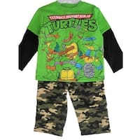 Nickelodeon Little Boys Green Ninja Turtles Camouflage 2 Pc Pants Set 12-24M