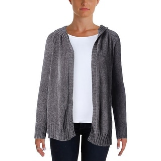 Oh MG! Womens Juniors Cardigan Sweater Hooded Open Front