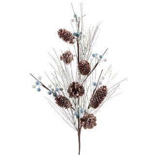 Pack of 6 Glittered Artificial Christmas Sprays with Pine Cones and Berries 27""