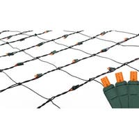 4' x 6' Orange LED Net Style Christmas Lights - Green Wire