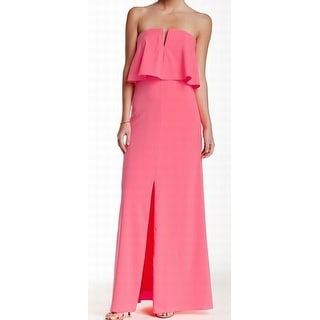 Marina NEW Bright Pink Women's Size 8 V-Neck Popover Maxi Gown Dress