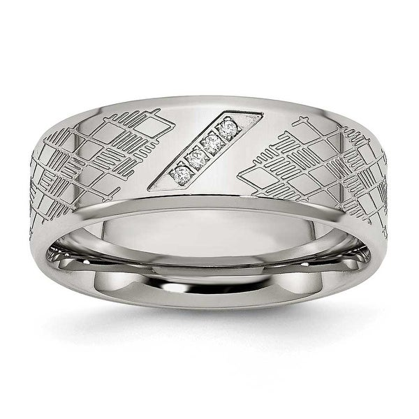Chisel Stainless Steel Polished & Textured CZ Ring (8 mm)
