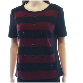 Halogen NEW Red Black Striped Grommet Women's Size Small S Knit Top