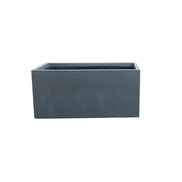 Kante Lightweight Concrete Modern Long Low Outdoor Planter, Large, 31 Inch Long, Charcoal. Opens flyout.