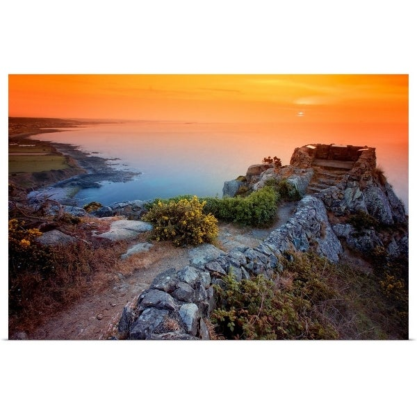"""Stone wall by Atlantic ocean at sunset."" Poster Print"