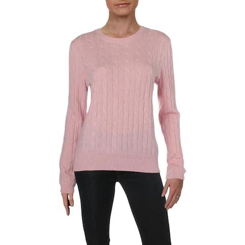 Aqua Womens Pullover Sweater Cashmere Cable