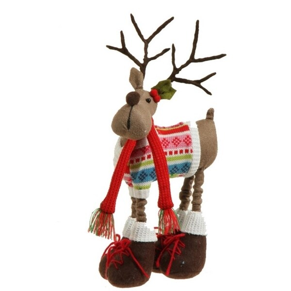 """12"""" Merry & Bright Faux Suede Plush Reindeer Wearing a Knit Sweater Christmas Figure Decoration - brown"""