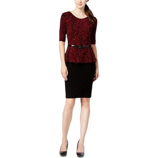 Connected Apparel Womens Petites Wear to Work Dress Peplum Lined