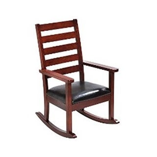 Mission Style Childrens Rocking Chair with Upholstered Seat - Cherry